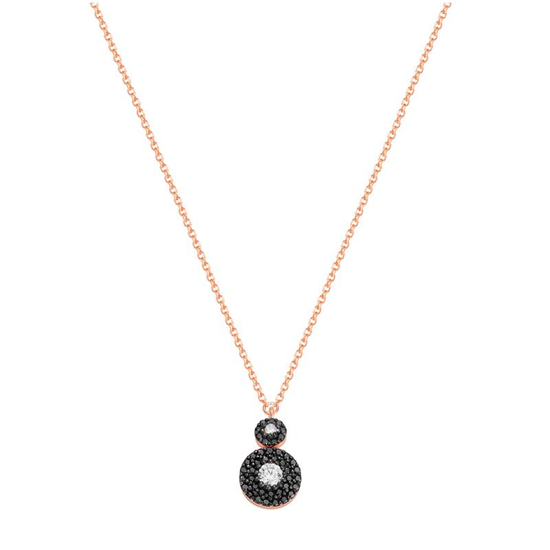 Κολιέ Al oro ροζ χρυσό Κ14 με μαύρο και λευκό ζιργκόν  2186ca77572
