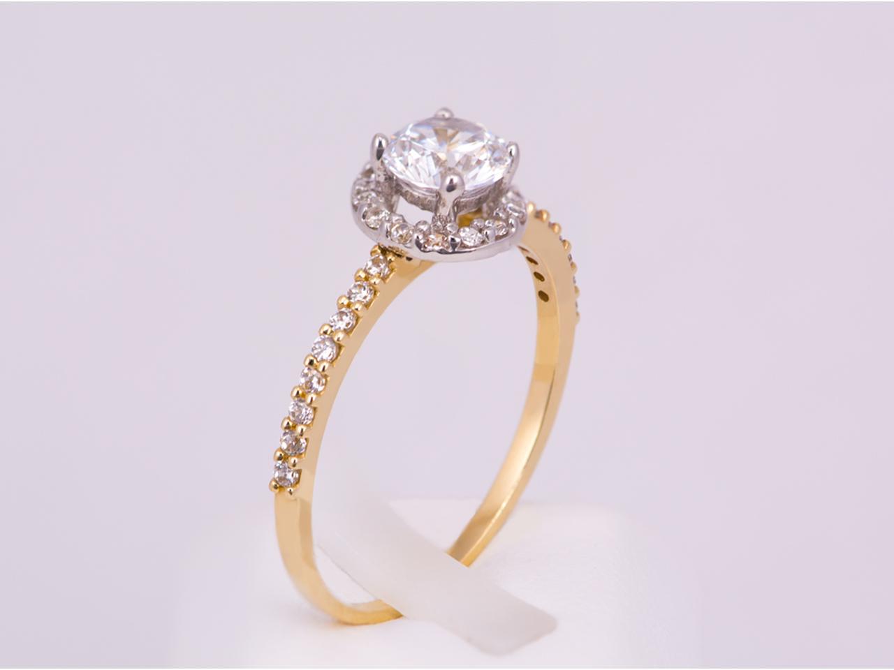 Μονόπετρο δαχτυλίδι χρυσό Κ14 με ζιργκόν  73ddca3a479