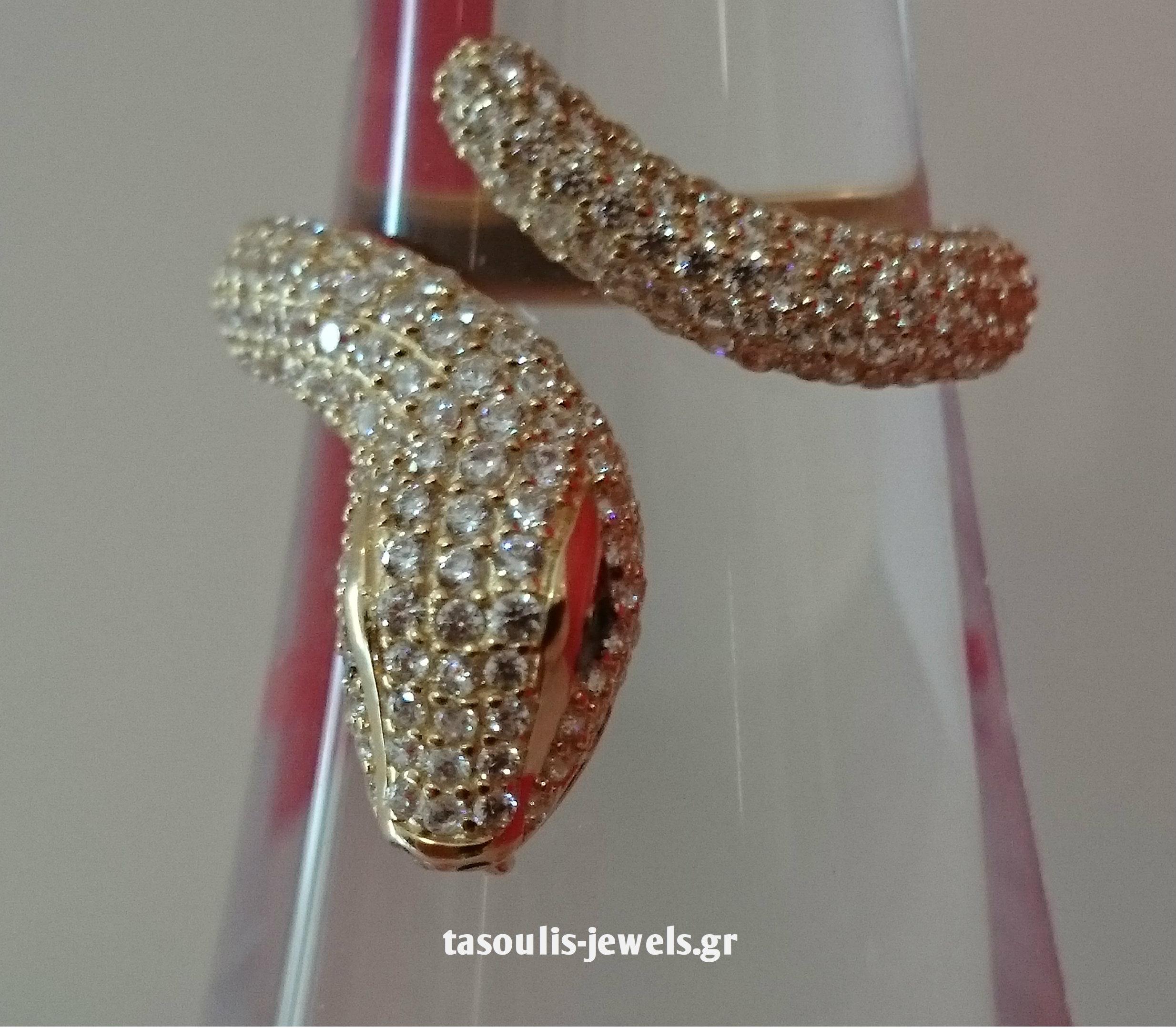 δαχτυλίδι σε σχήμα φιδιού , χρυσό Κ14