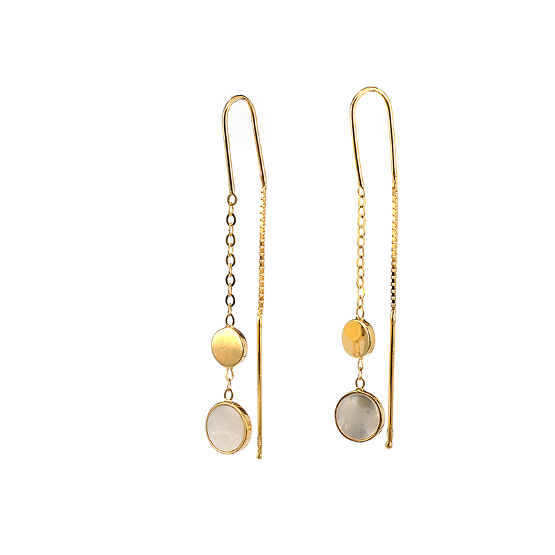 Σκουλαρίκια κρεμαστά χρυσό Κ14 φίλντισι  22dec2bc162