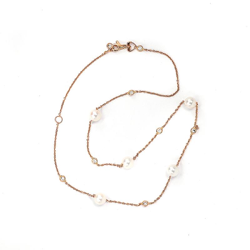 Κολιέ με μαργαριτάρια σε ροζ χρυσό Κ14-7095  b69df91e456