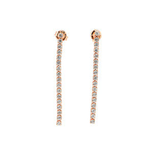 σκουλαρίκια ροζ επίχρυσο ασήμι ζιρκόν