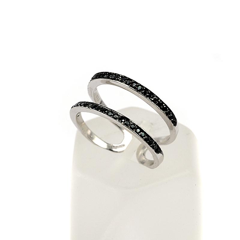Δαχτυλίδι διπλό σειρέ ασήμι 925 μαύρο ζιργκόν  3a5824deee0