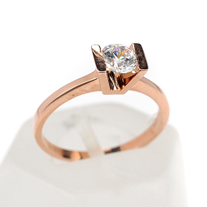 Μονόπετρο δαχτυλίδι Al oro Κ18 ροζ χρυσό διαμάντι 1493  393bfdc1bbf