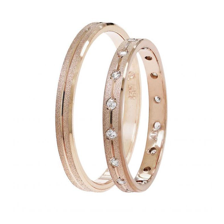 Βέρες γάμου Stergiadis ροζ χρυσό Κ14 SAT-1  5d9129698c1