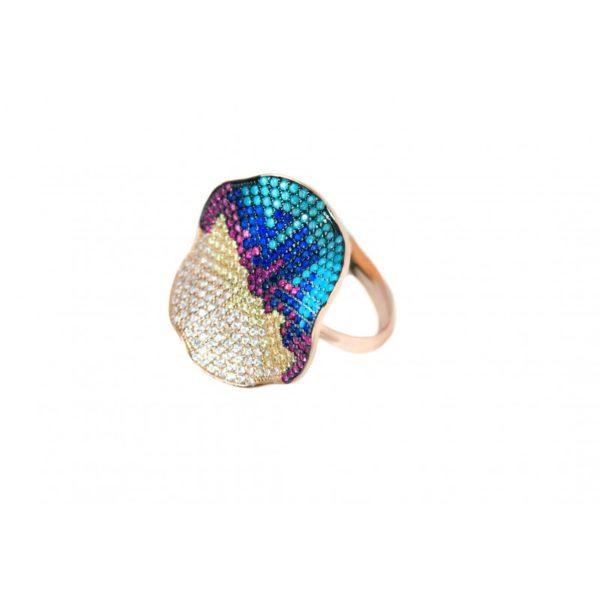δαχτυλίδι ασήμι ροζ επίχρυσο 925