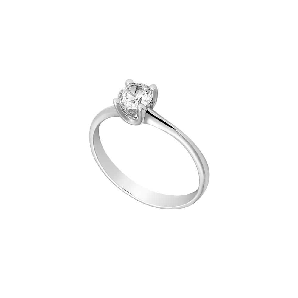 Μονόπετρο δαχτυλίδι Al oro Κ18 λευκόχρυσο διαμάντι ZL921 ... 75a4cec27e1