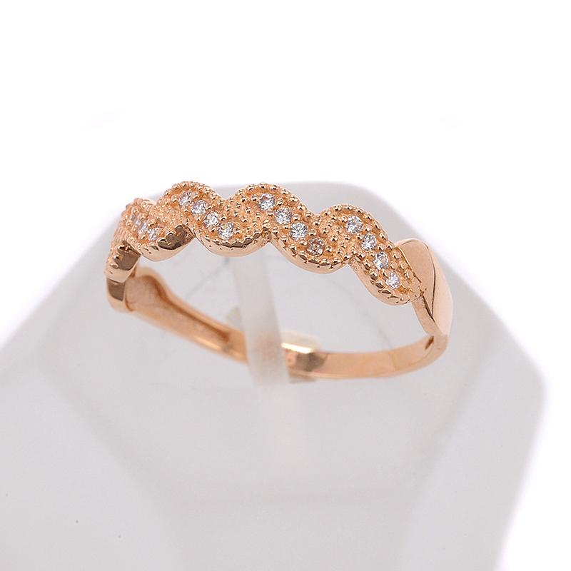 Δαχτυλίδι κύμα σειρέ ροζ χρυσό Κ14 με ζιργκόν 7321  544e3ea8ca2