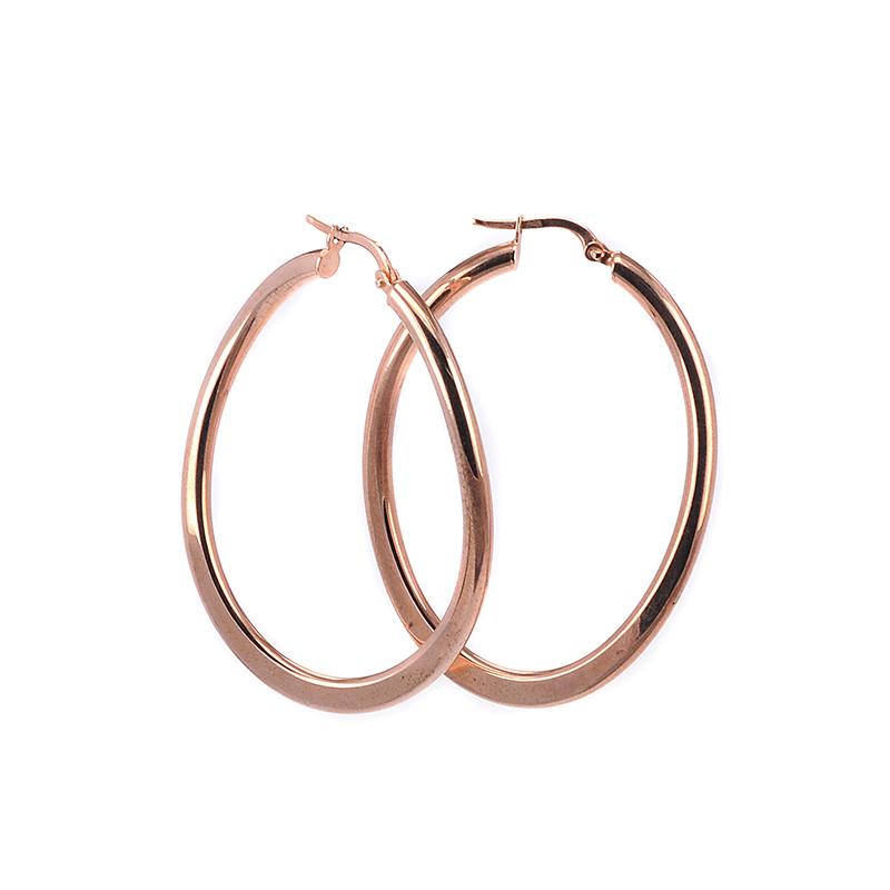Σκουλαρίκια κρίκοι ροζ χρυσό Κ14 -7230  c57d8c98fba