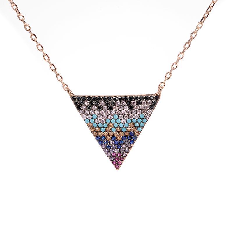 Κολιέ τρίγωνο μωσαικό ασήμι 925 4616  aabe1f7083a