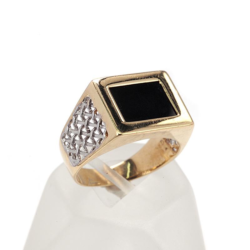 Δαχτυλίδι ανδρικό δίχρωμο χρυσό Κ14 7706  6e4ff4c8290