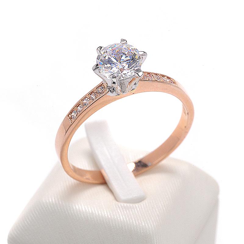 Μονόπετρο δαχτυλίδι δίχρωμο χρυσό Κ14 με ζιργκόν 8491  2b1f37bee7d