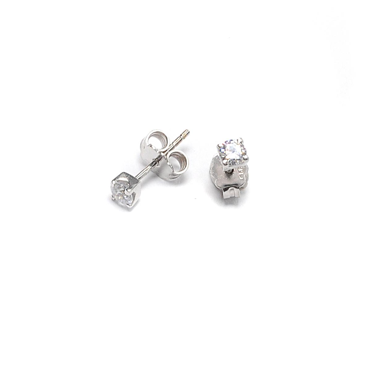 Σκουλαρίκια μονόπετρο λευκόχρυσο Κ14 -4211  f51f0be2dbe