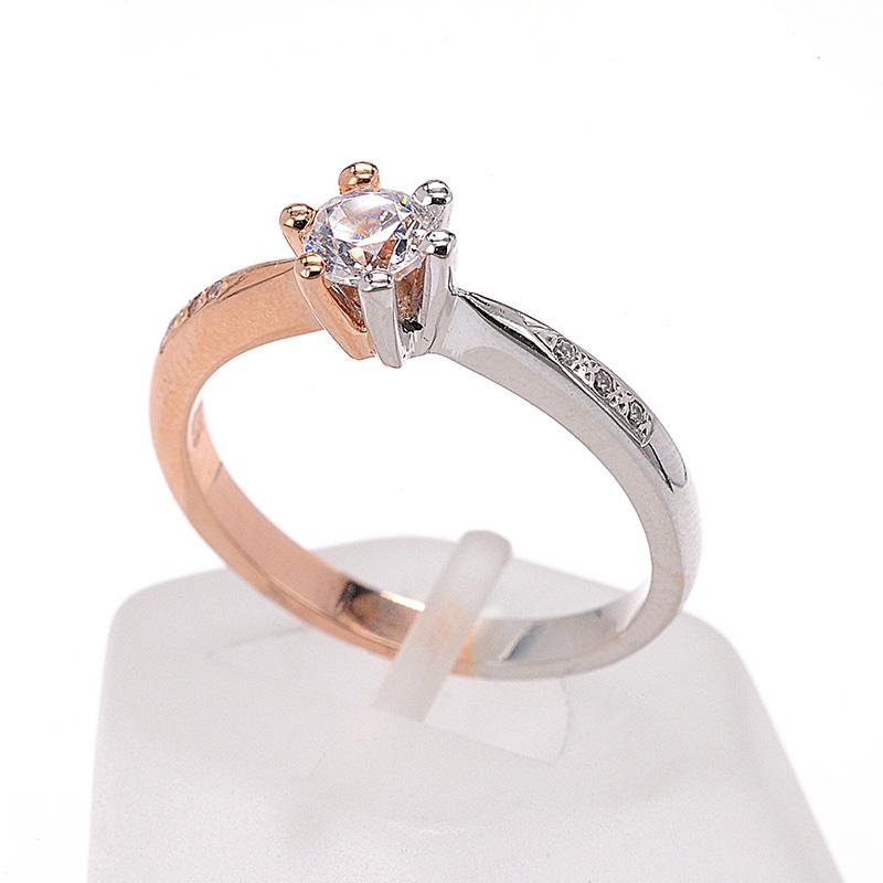 Μονόπετρο δαχτυλίδι δίχρωμο χρυσό Κ14 με ζιργκόν 8498  b5da9475857