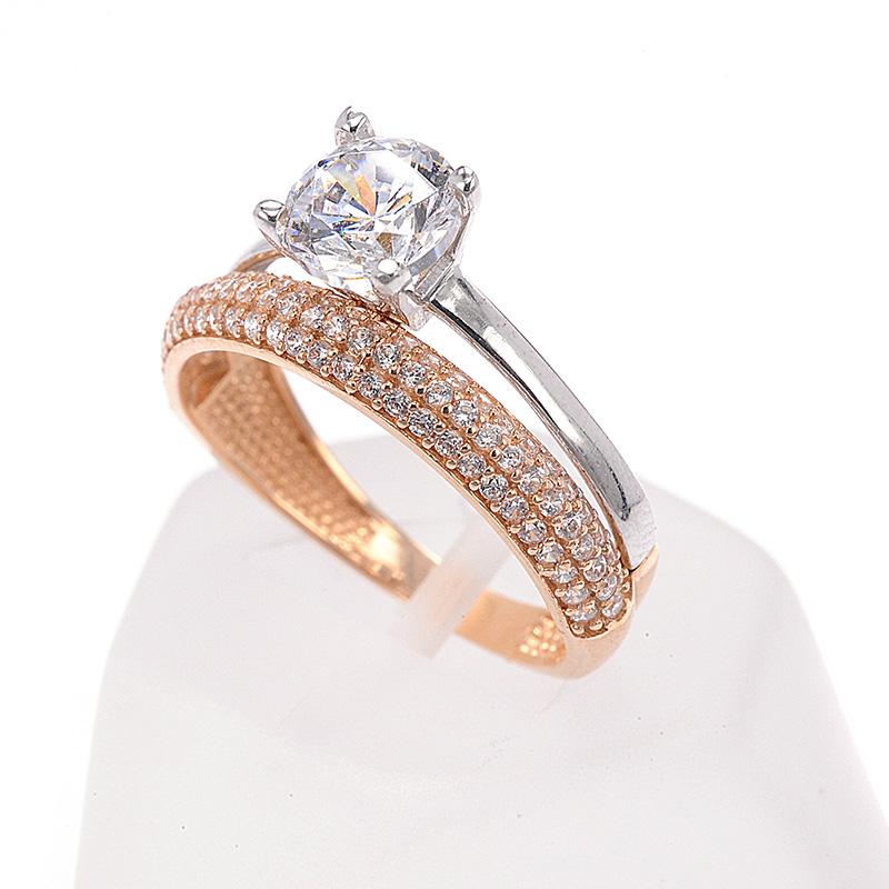 Μονόπετρο διπλό δαχτυλίδι σειρέ δίχρωμο χρυσό Κ14 με ζιργκόν ... 0957fe5bb83