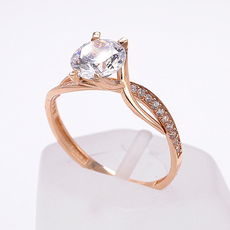 Μονόπετρο δαχτυλίδι ροζ χρυσό Κ14 με ζιργκόν 8505  7677704cb3c