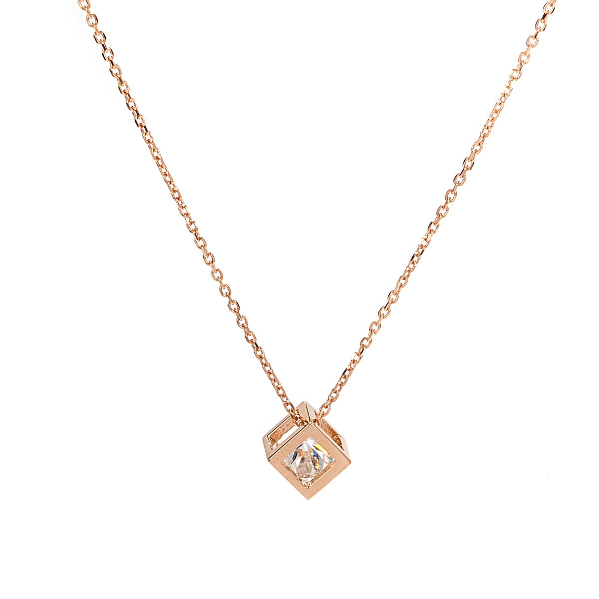 Κολιέ κύβος ροζ χρυσό K14 4157  837797fbaac