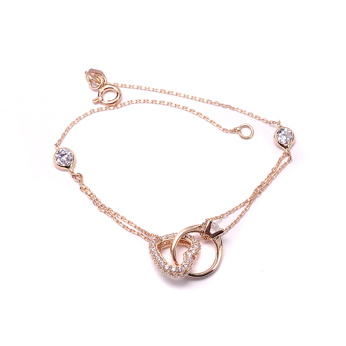 738c29fdf06 Βραχιόλι καρδιά μονόπετρο ροζ χρυσό Κ14 4240