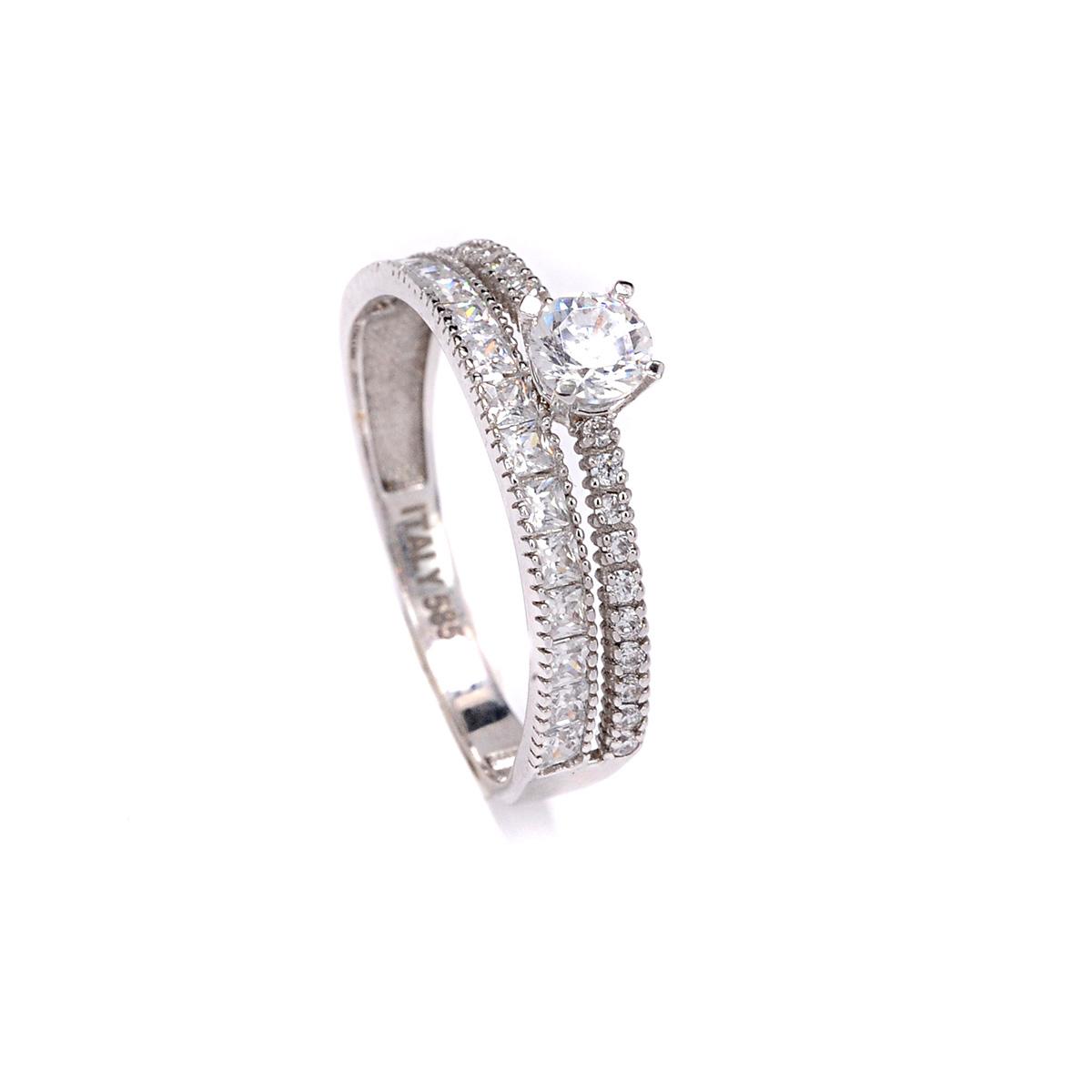 Μονόπετρο διπλό δαχτυλίδι σειρέ χρυσό Κ14 με ζιργκόν  24e3ff3fbba