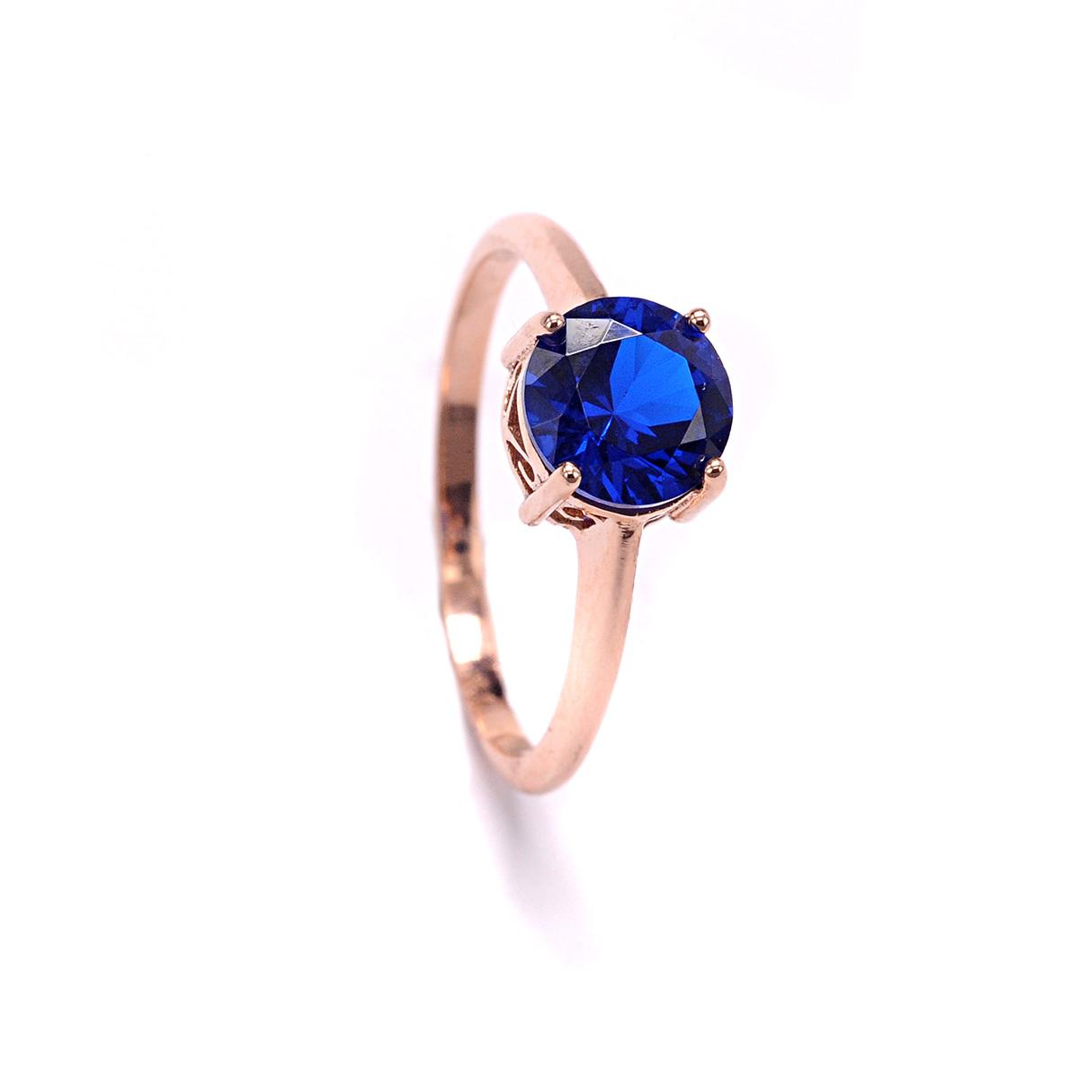 Μονόπετρο δαχτυλίδι μπλε χρυσό Κ14 με ζιργκόν 0161  3237ca22d40