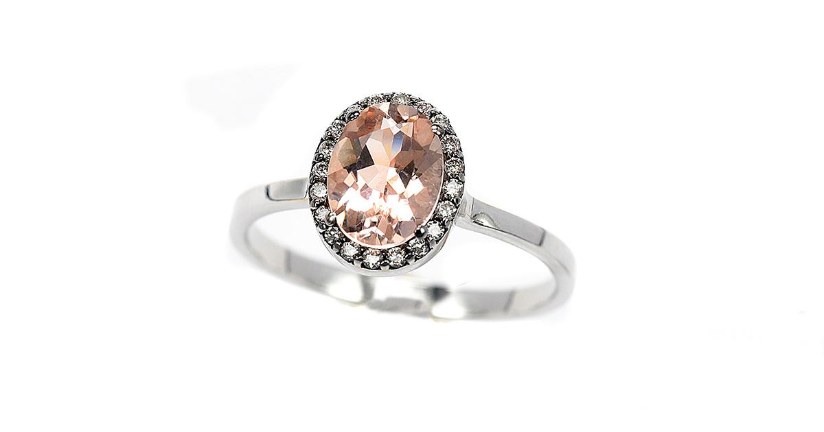 Λευκόχρυσο Κ18 με μοργκανίτη και διαμάντια