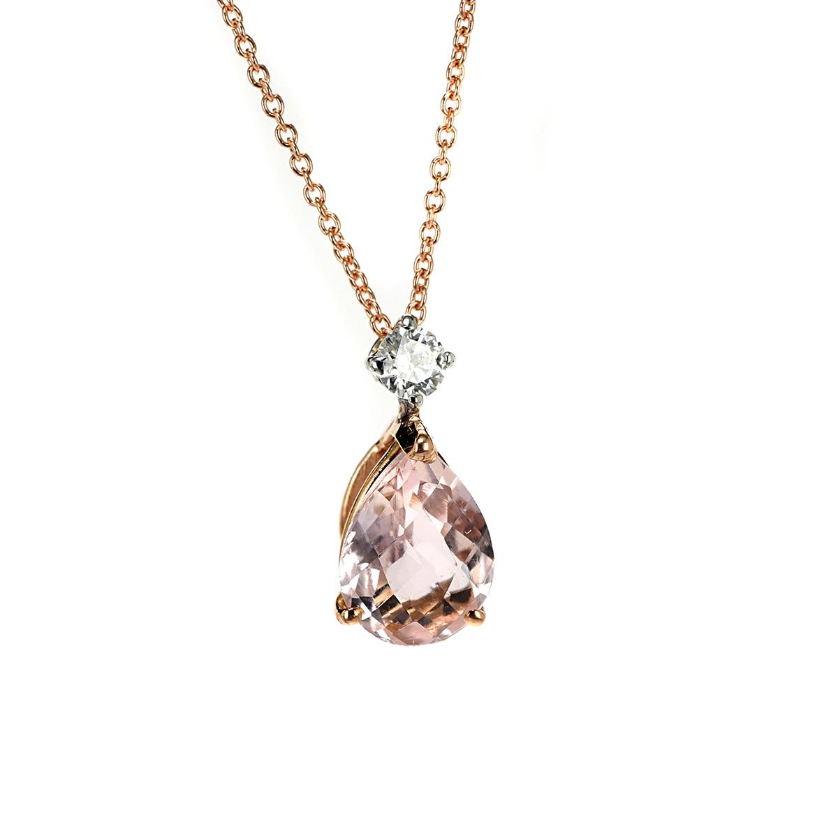 Κολιέ με διαμάντια και μοργκανίτη Κ18