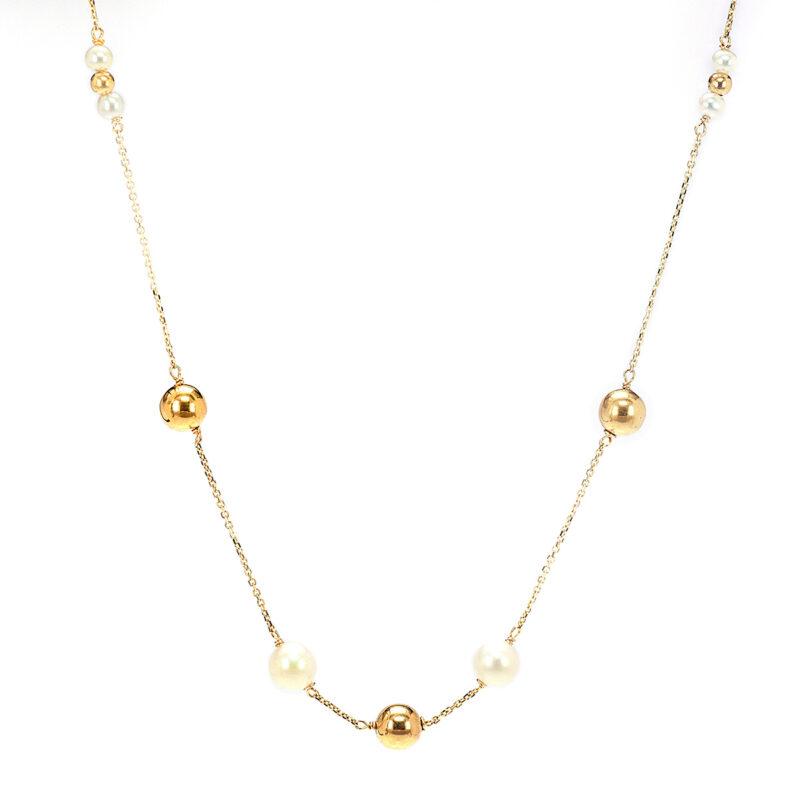 Κολιέ από κίτρινο χρυσό 14Κ, με μήκος αλυσίδας 40 εκ. και φυσικά μαργαριτάρια