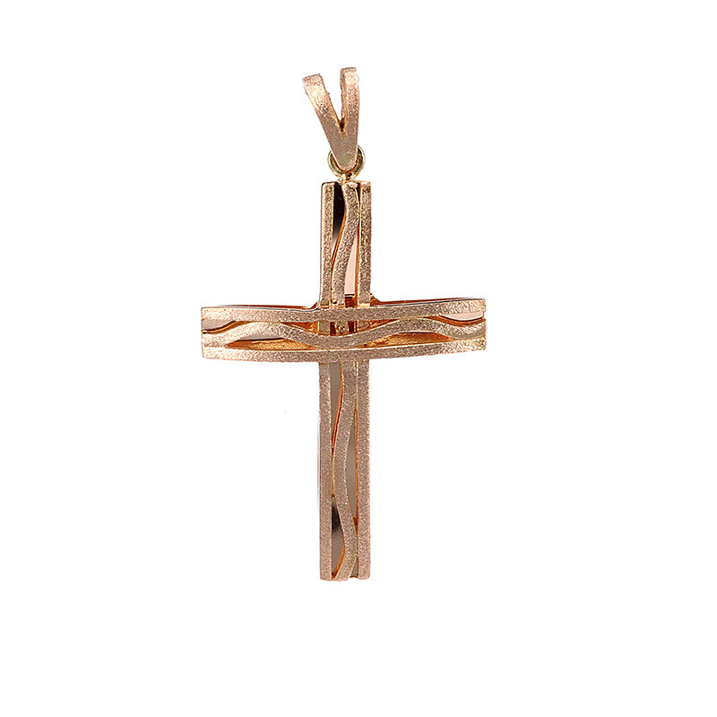 Χειροποίητος σταυρός από ροζ χρυσό Κ14