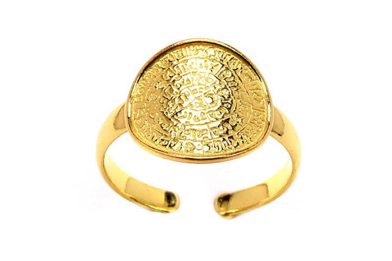 Δαχτυλίδι chevalier - σεβαλιέ δίσκος της Φαιστού από ασήμι 925, το οποίο είναι κίτρινο επίχρυσο