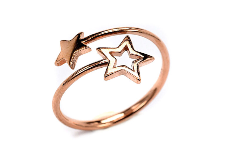 Δαχτυλίδι αστέρι από ασήμι επίχρυσο 925