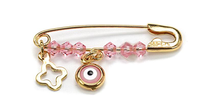 Χρυσή παιδική παραμάνα με ροζ ματάκι και σταυρό από Κ14