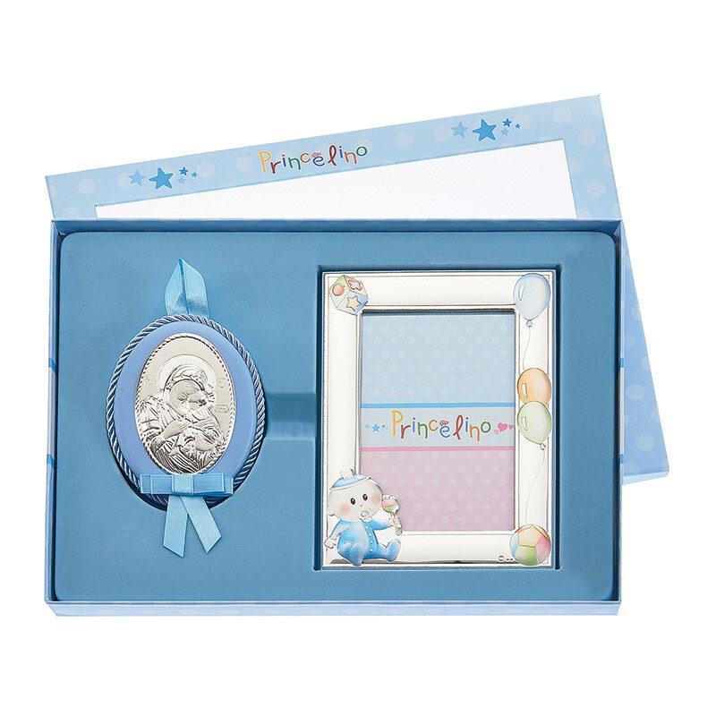 Σετ δώρο από ασήμι 925 με παιδική κορνίζα και φυλαχτό εικόνα για το παιδικό δωμάτιο